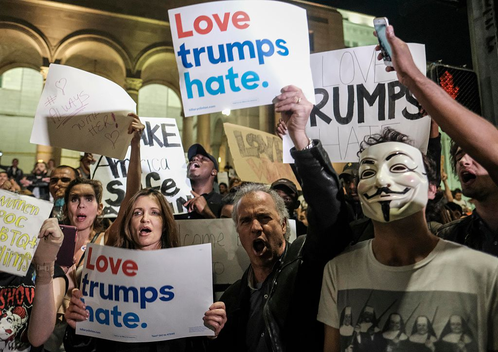Demonstrators gather to protest a day after President-elect Donald Trump's victory, during a rally outside Los Angeles City Hall in Los Angeles, California