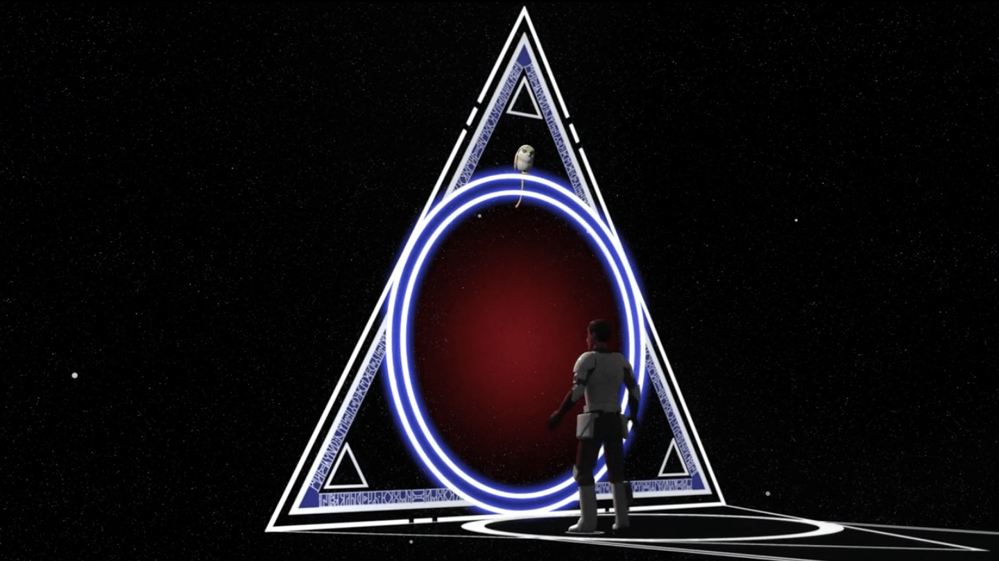 Ezra discovers a triangle shaped portal.