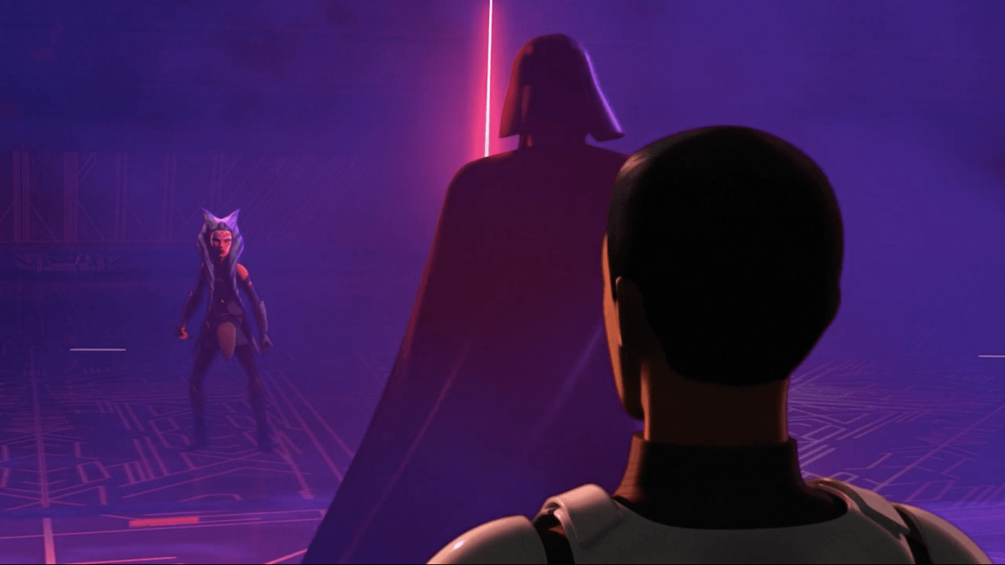 Ezra stands in a dark room with two other Star Wars Rebels characters.