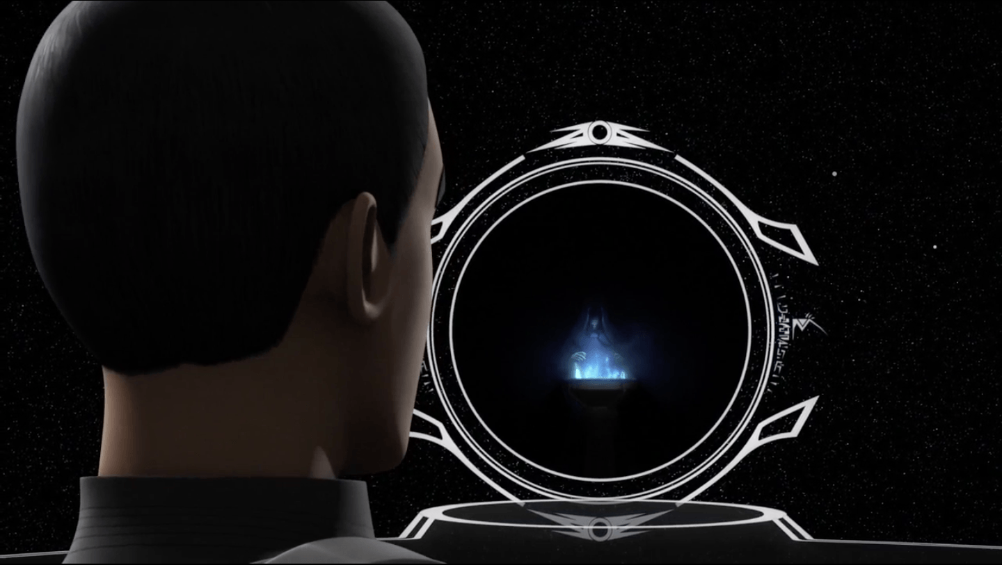 Emperor Palpatine looking into a portal.