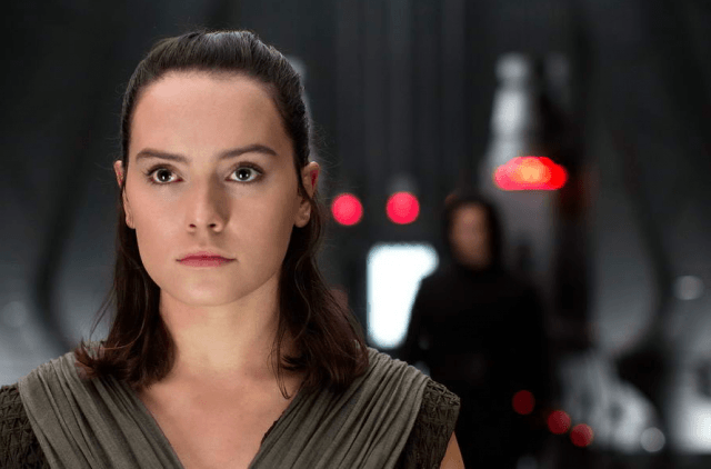 Rey and Kylo Ren in a ship in 'Star Wars: The Last Jedi'.