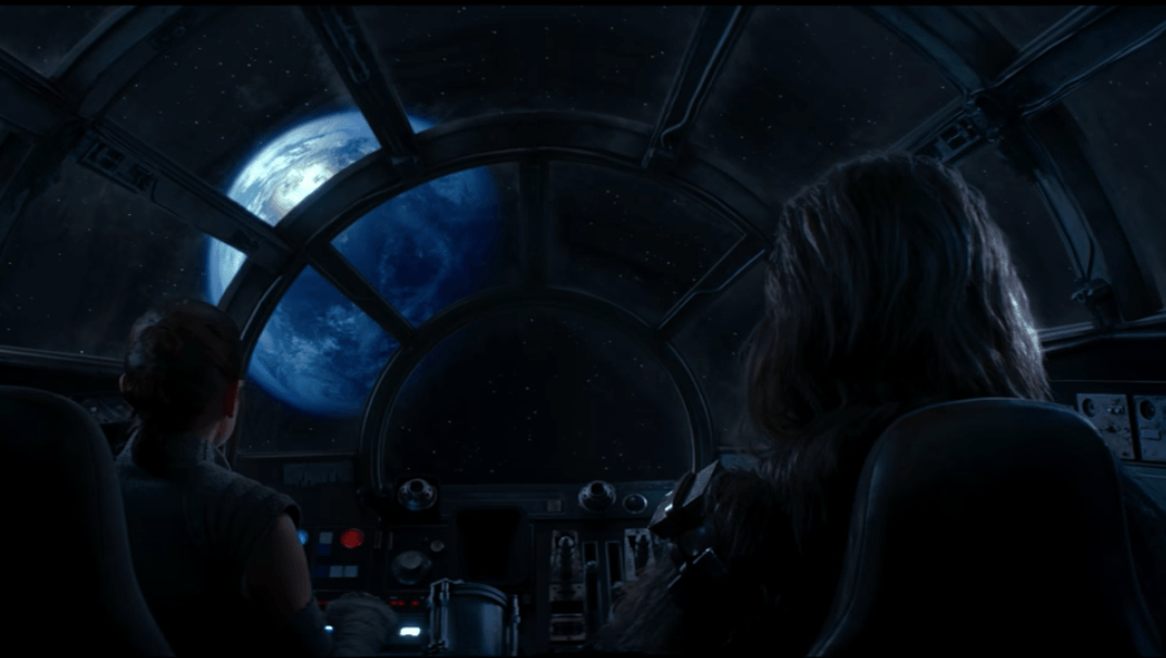Rey and Chewie arrive to Ahch-To, which is in the Unknown Regions