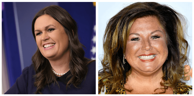 A composite image of Sarah Huckabee Sanders and Abby Lee Miller