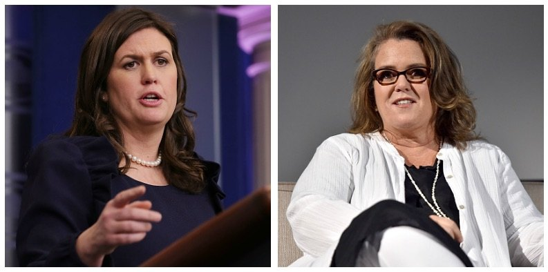 A composite image Sarah Huckabee Sanders and Rosie O'Donnell