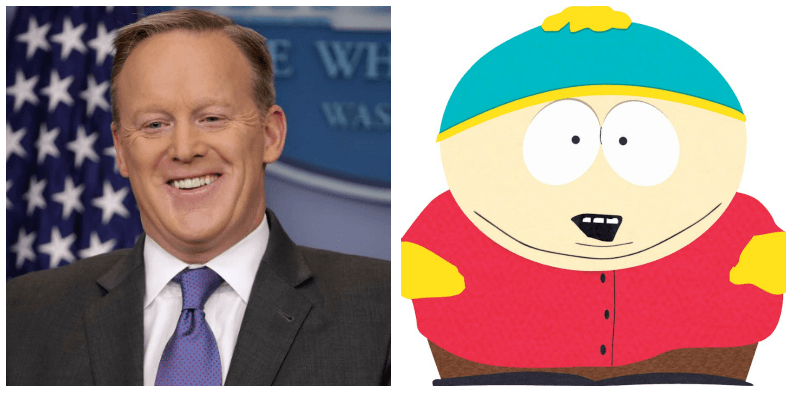 A composite image of Sean Spicer and Eric Cartman