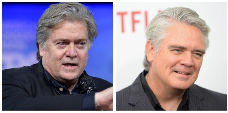 A composite image of Steve Bannon and Michael Harney