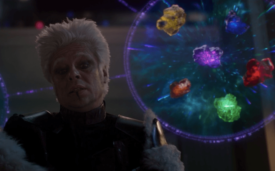 The six Infinity Stones in Guardians of the Galaxy.   Marvel Studios