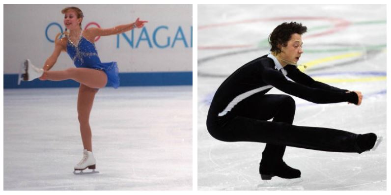 A composite image of Tara Lipinski and Johnny Weir skating in the Olympics