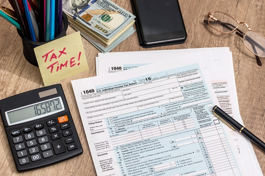 tax form with calculator