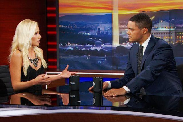 Tomi Lahren and Trevor Noah on The Daily Show.