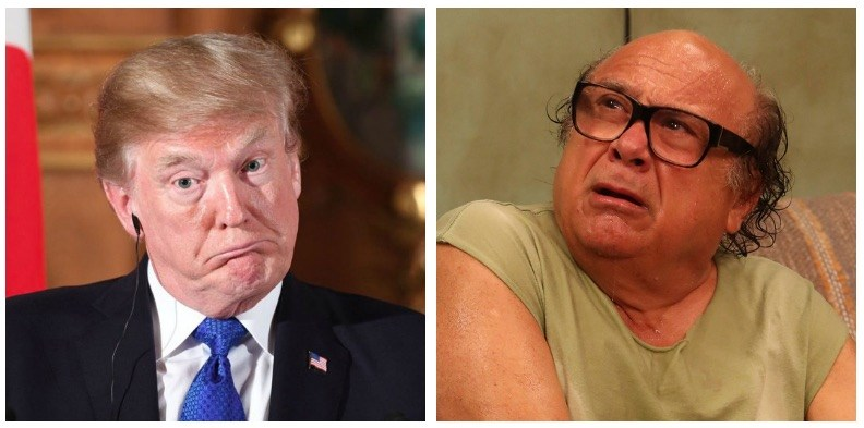 A composite image of Donald Trump and Frank Reynolds