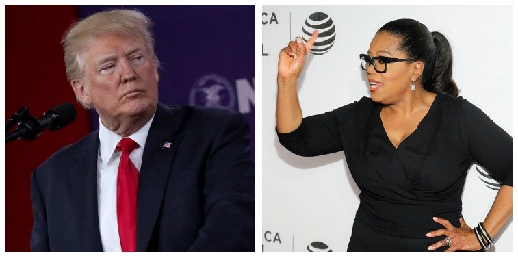 A composite image of Donald Trump and Oprah