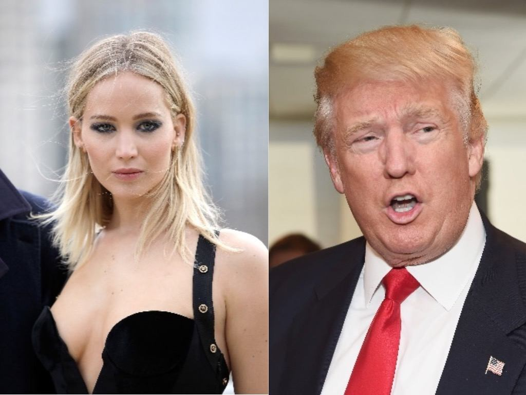 A collage of Jennifer Lawrence and Donald Trump