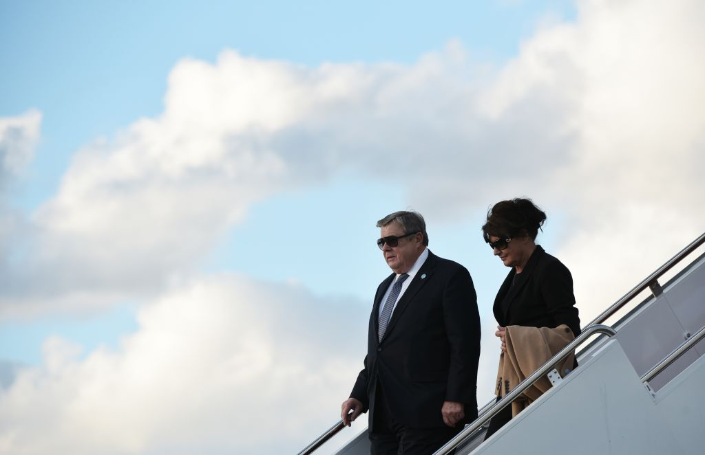 Viktor and Amalija Knavs stepped off Air Force One upon arrival at Palm Beach International Airport