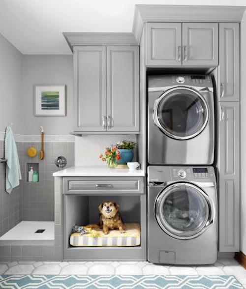 A dog sitting near a washing machine in a bed.