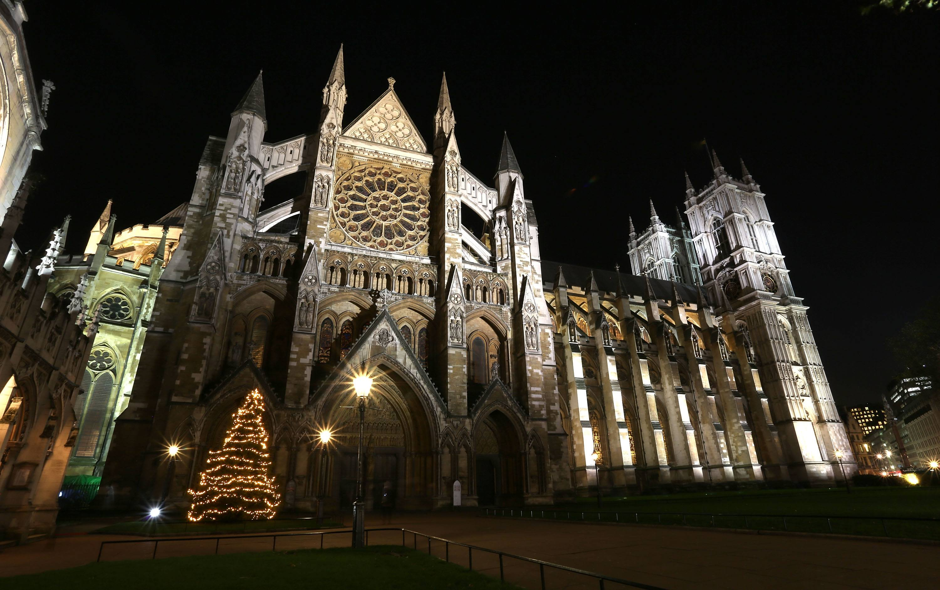 The Christmas Tree which was blessed and switched on by The Very Reverend Dr John Hall at Westminster Abbey on December 4, 2012 in London, England.
