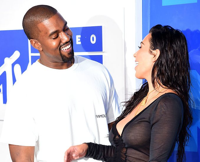 Kanye West and Kim Kardashian West attend the 2016 MTV Video Music Awards