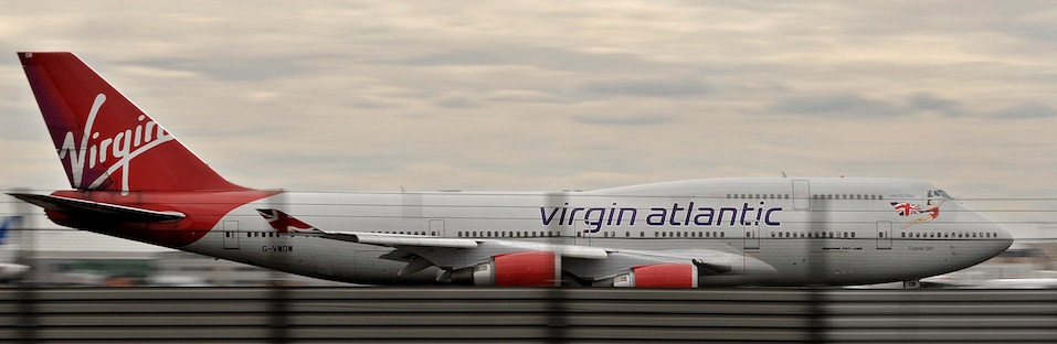 A Virgin Atlantic aircraft prepares to take off