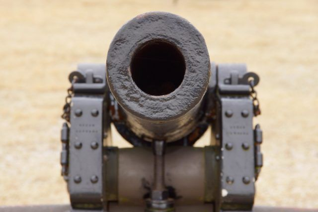 A cannon outdoors.