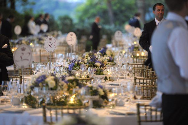 decorated tables at the Opera Terraces before a dinner following the religious wedding ceremony