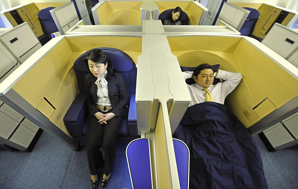 Seats of the first class section on ANA airlines