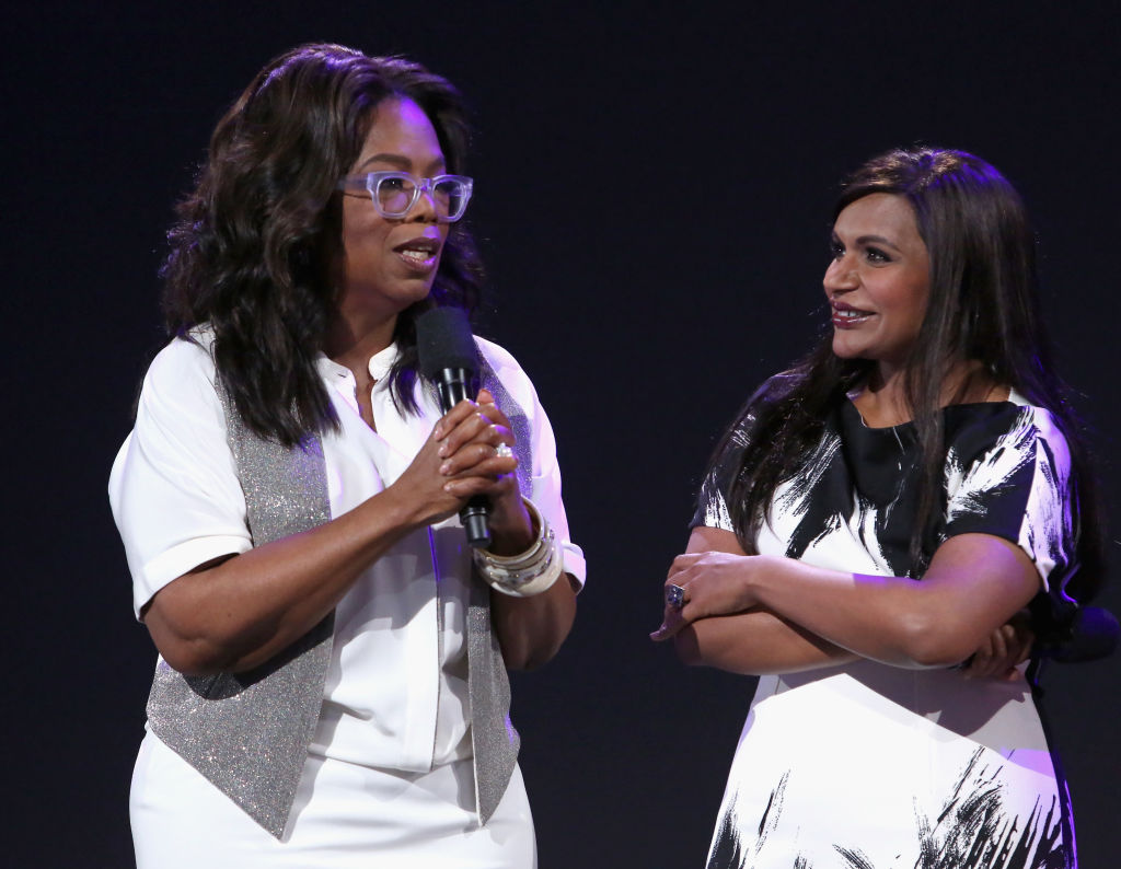 Actors Oprah Winfrey (L) and Mindy Kaling