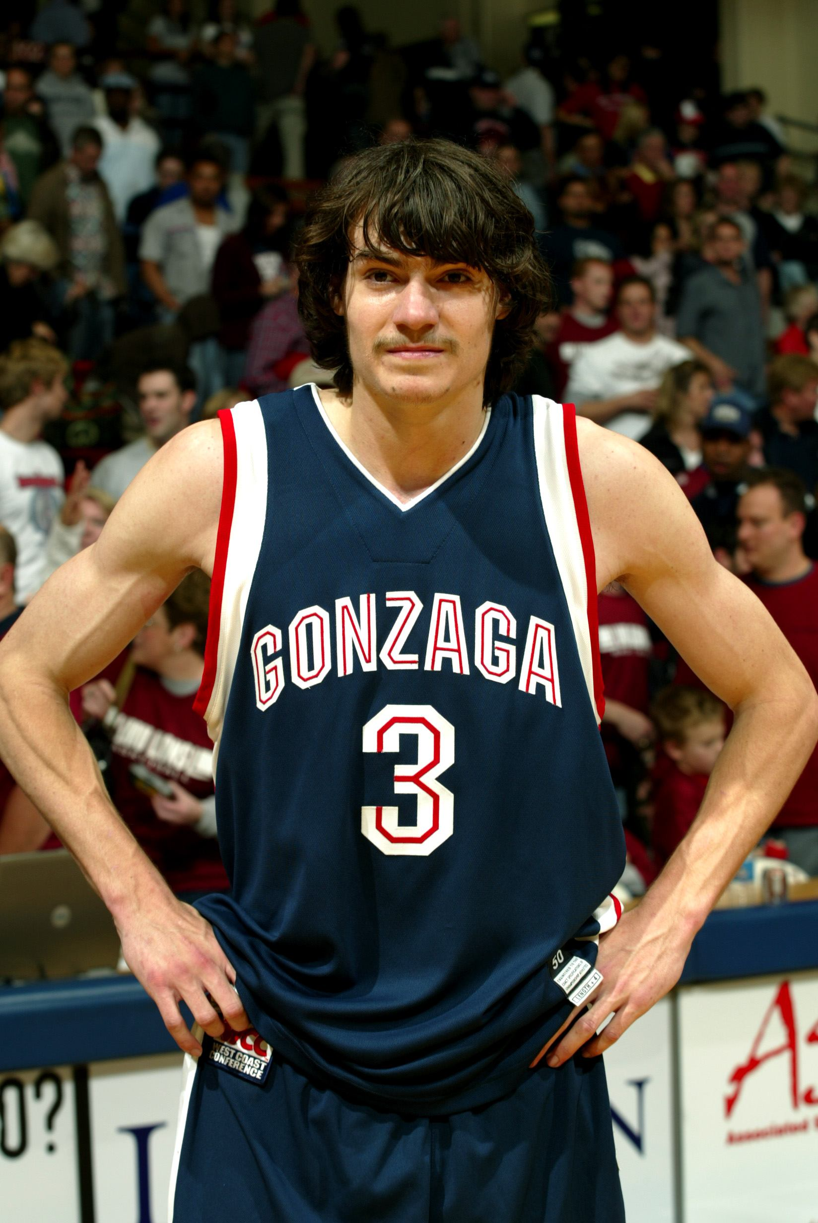 Adam Morrison #3 of the Gonzaga Bulldogs looks on as he waits to be interviewed on ABC