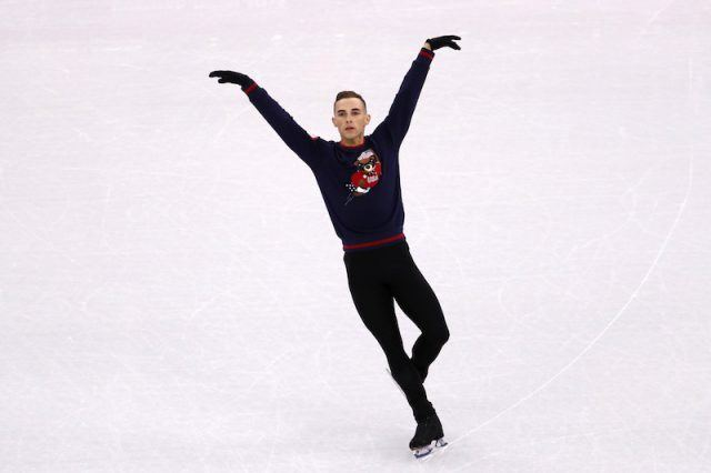 Adam Rippon skating on ice.