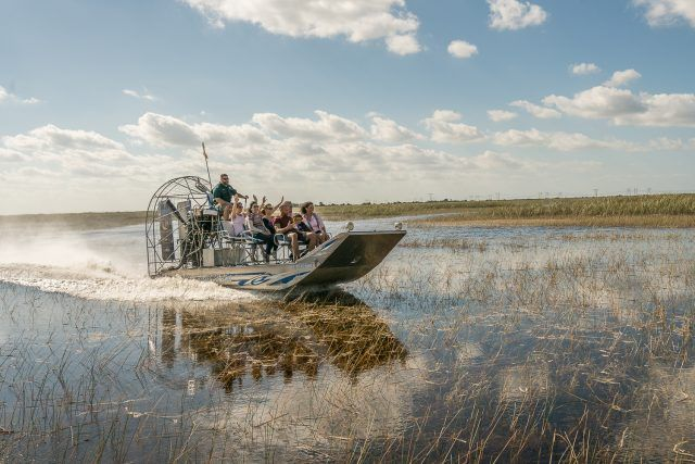 group on an airboat tour in the Everglades