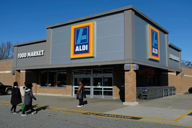 Aldi building seen on a blue day.
