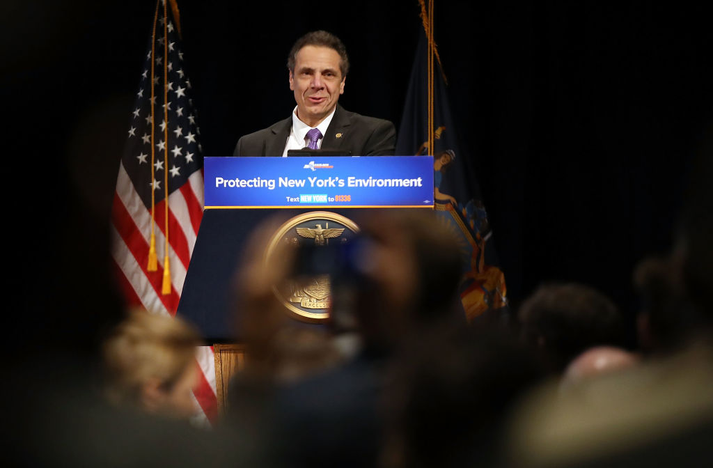 New York Gov. Andrew Cuomo And Former Vice President Al Gore Make Off Shore Wind Turbine Announcement At NYU