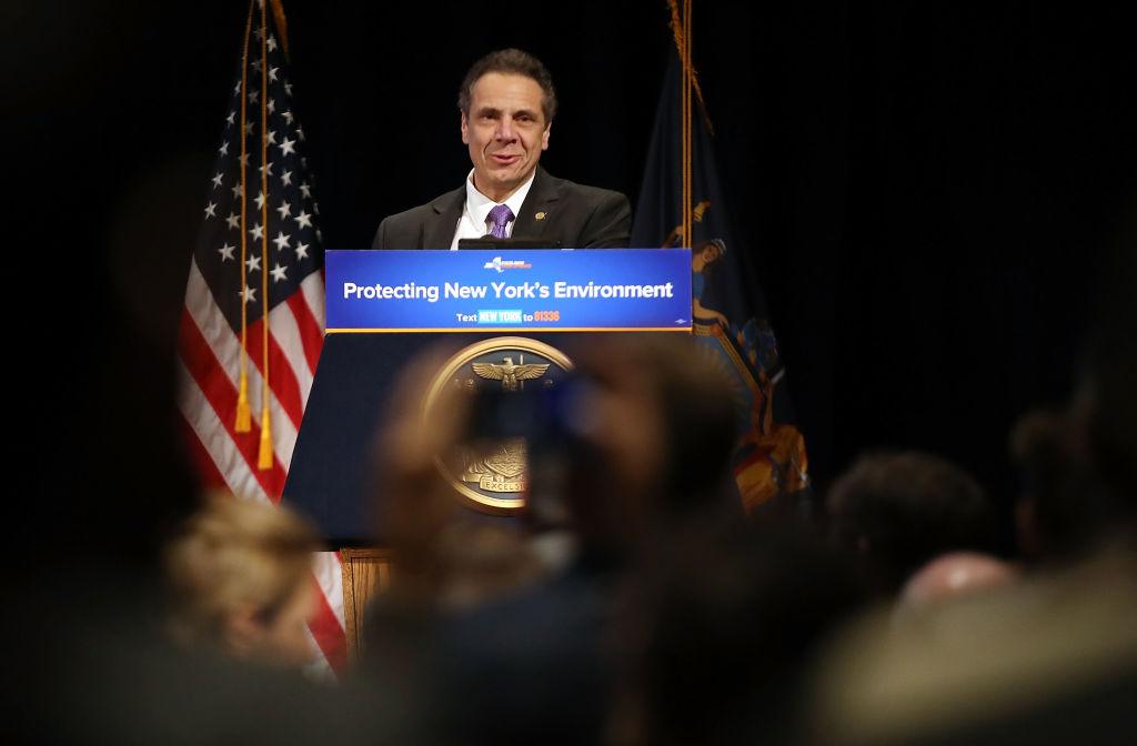 New York Gov. Andrew Cuomo And Former Vice President Al Gore Make Off Shore Wind Turbine Announcement At NYU