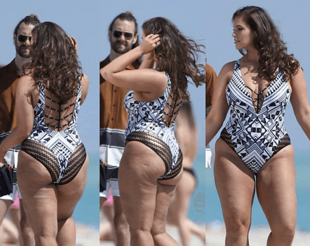 Ashley Graham posing in the beach.