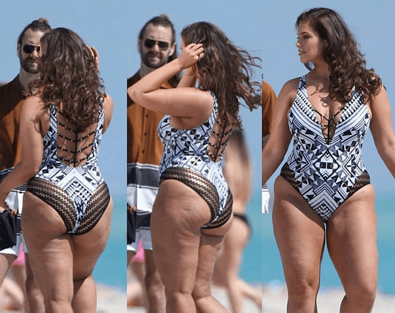 Ashley Graham in a swimsuit on the beach