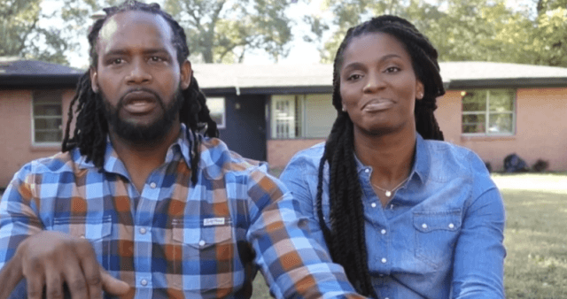 Andy and Ashley William talking to the camera in front of a home.