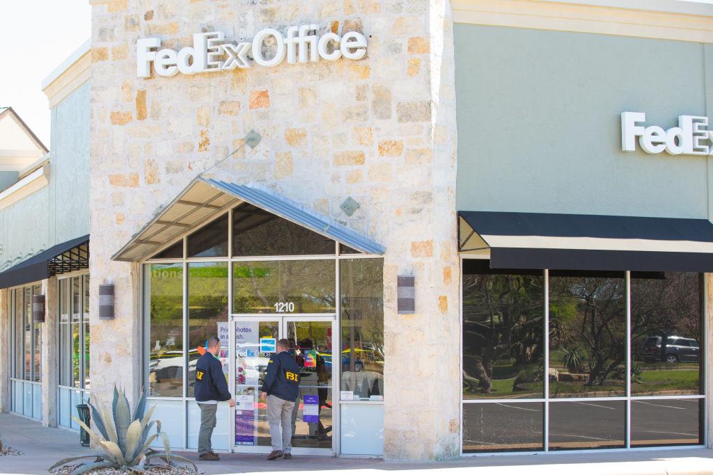 FBI outside of a FedEx store in Austin