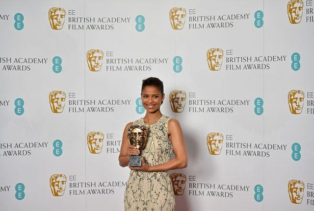 British actress Gugu Mbatha-Raw poses for pictures during a photocall at the British Academy of Film