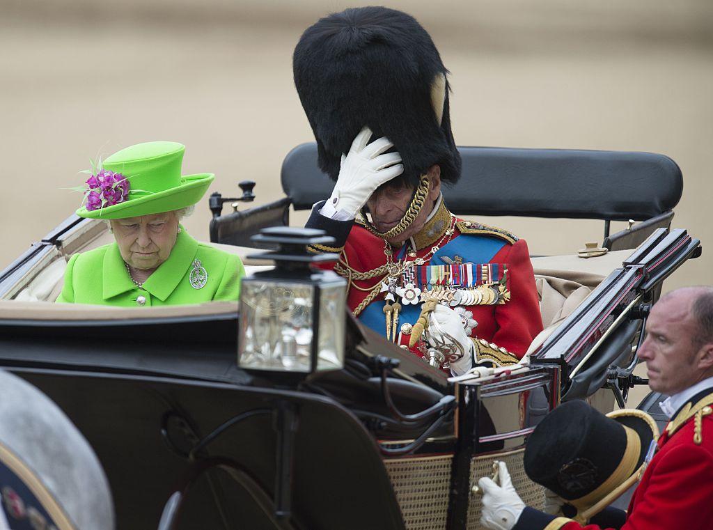 Britain's Queen Elizabeth II and Britain's Prince Philip, Duke of Edinburgh prepare to leave Horse Guards Parade