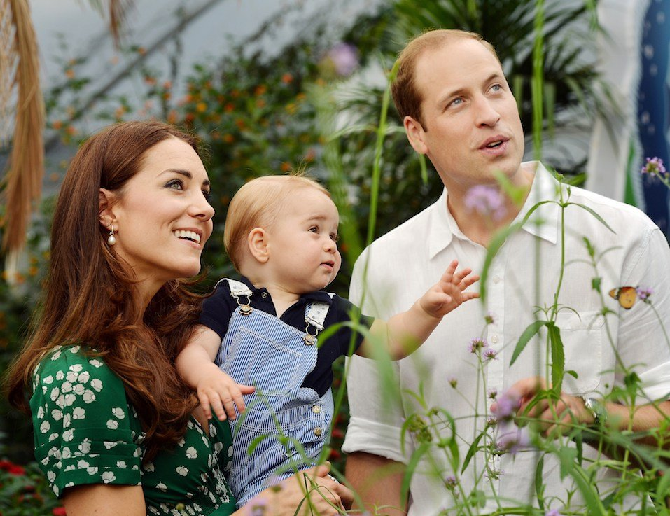 Britain's Prince George's first birthday, shows Prince William and Catherine, Duchess of Cambridge with Prince George during a visit to the Sensational Butterflies exhibition
