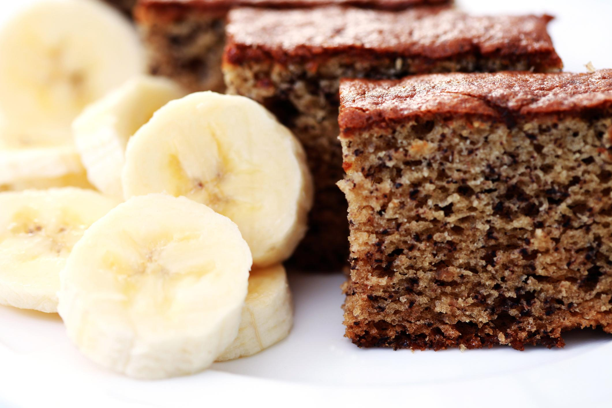 banana cake with a sliced banana