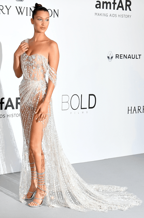 Bella Hadid in a white gown.
