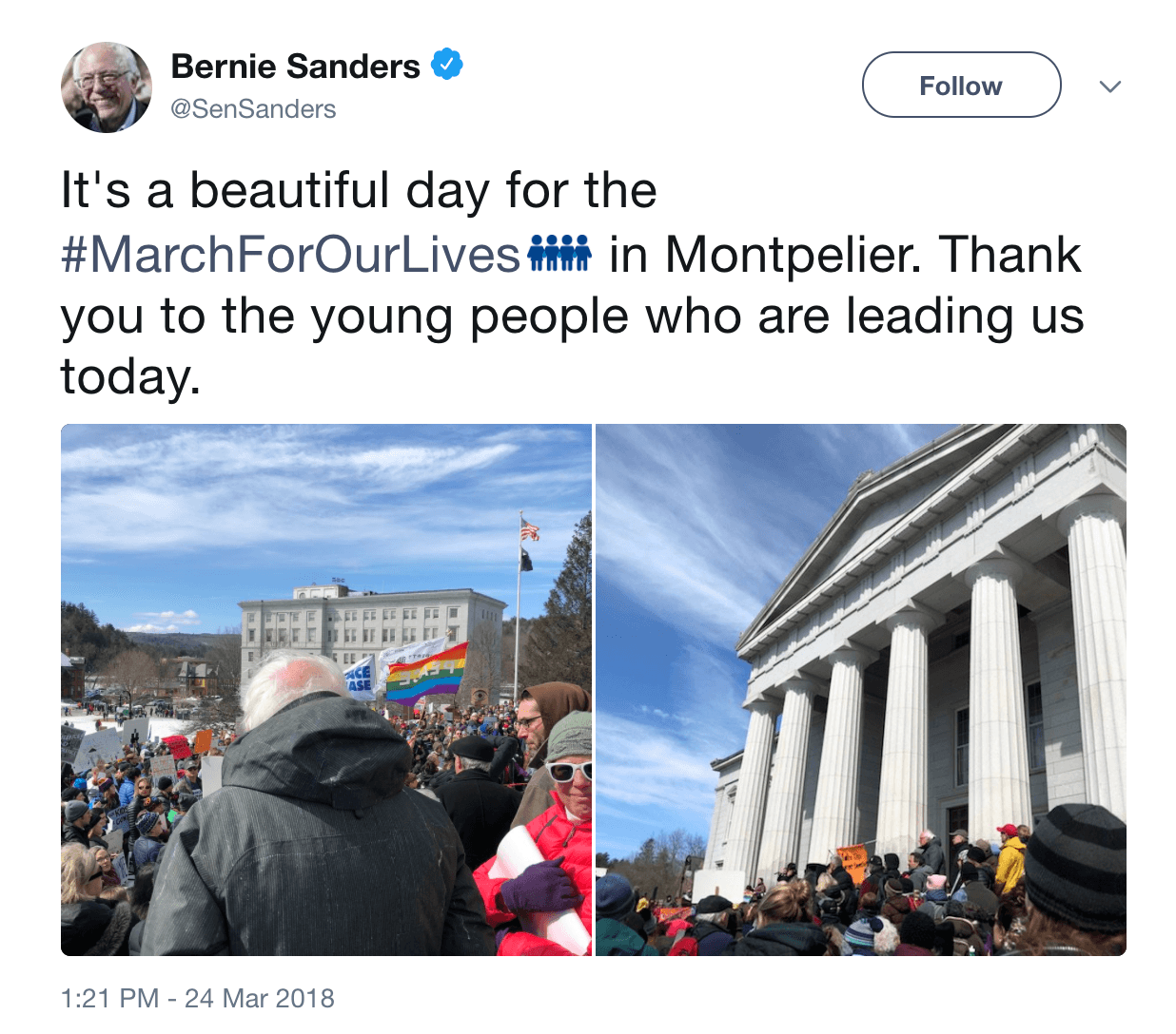 Bernie Sanders tweet march for our lives