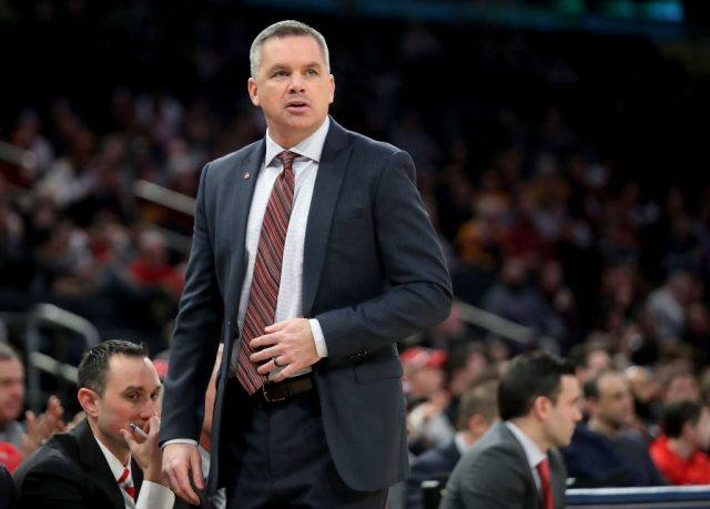 Head coach Chris Holtmann of the Ohio State Buckeyes looks on in the fist half