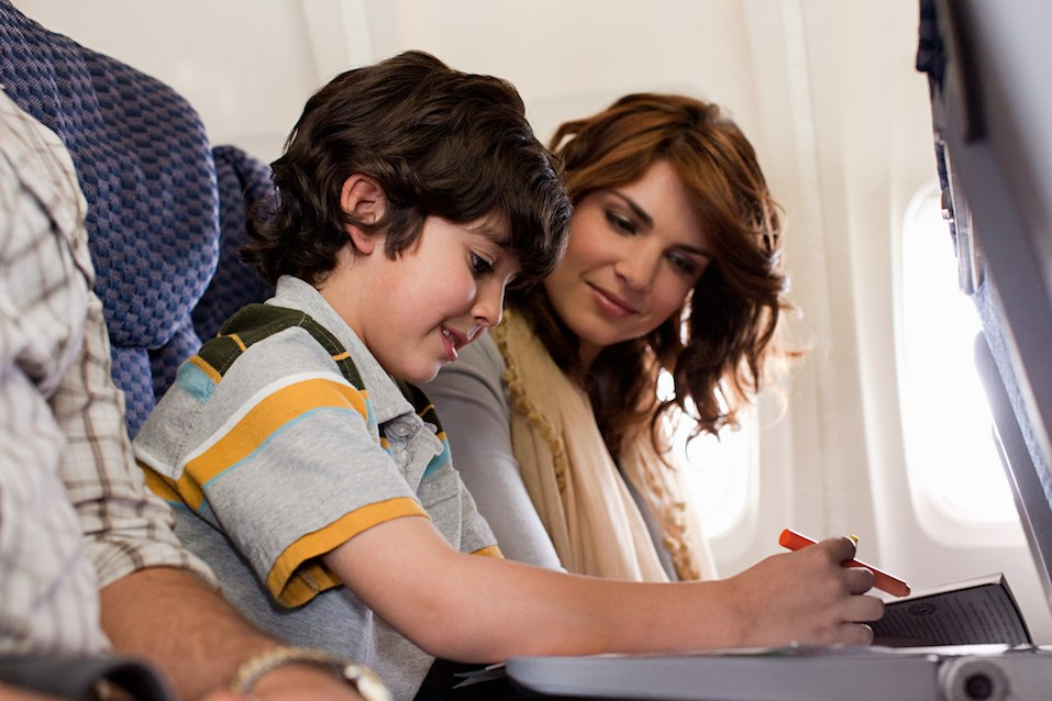 Family on airplane