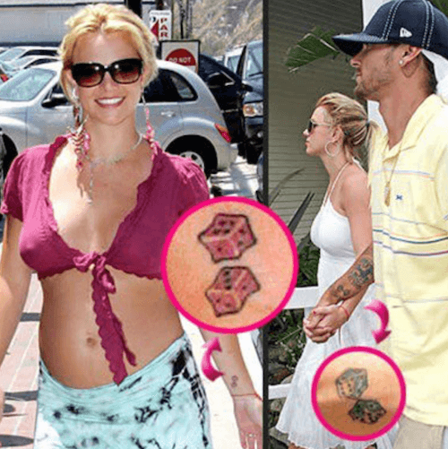 Britney Spears and Kevin Federline tattoos.