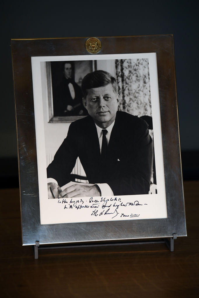 A photograph of President John F. Kennedy inscribed 'To Her Majesty Queen Elizabeth II,