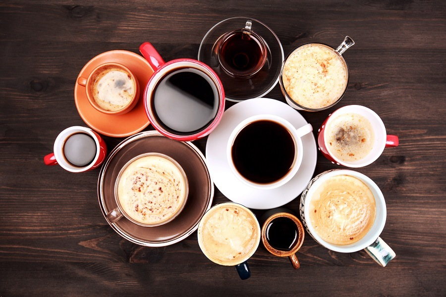 Many different cups of coffee
