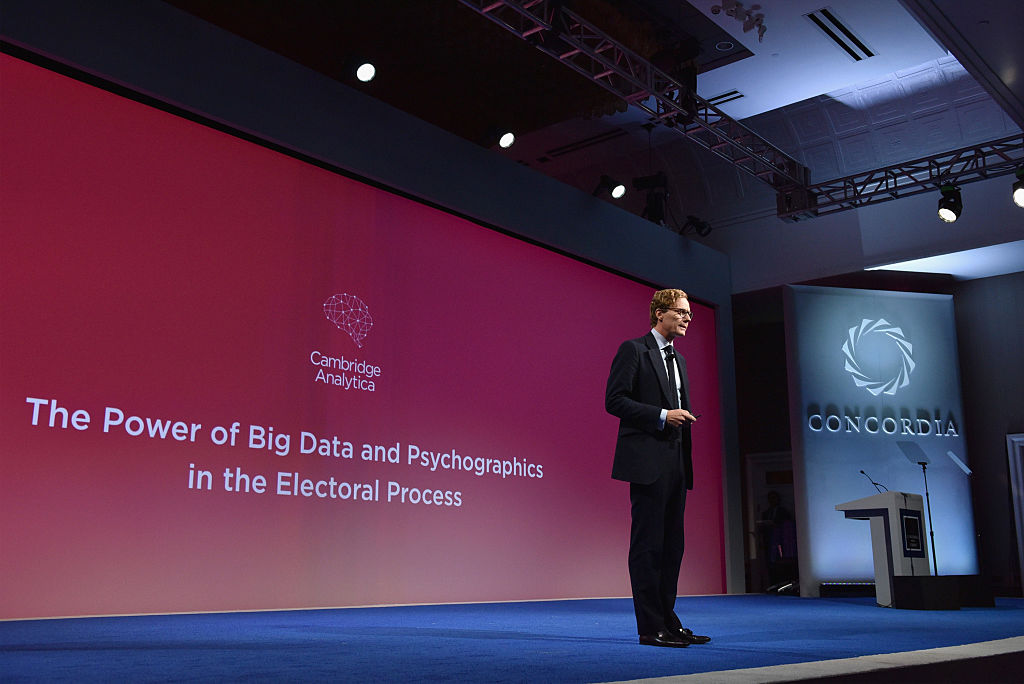 Cambridge Analytica's Alexander Nix giving a speech