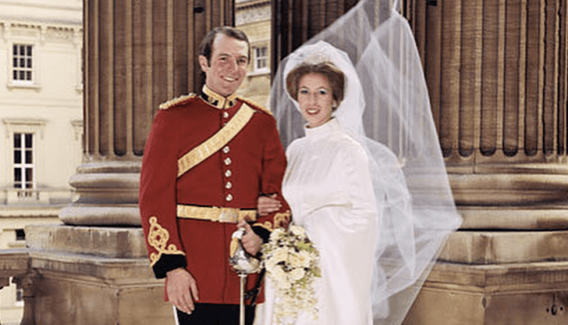 Captain Mark Phillips and Princess Anne posing together on their wedding day.