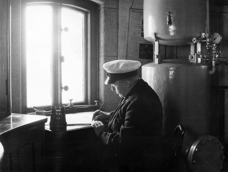 Captain writing memo